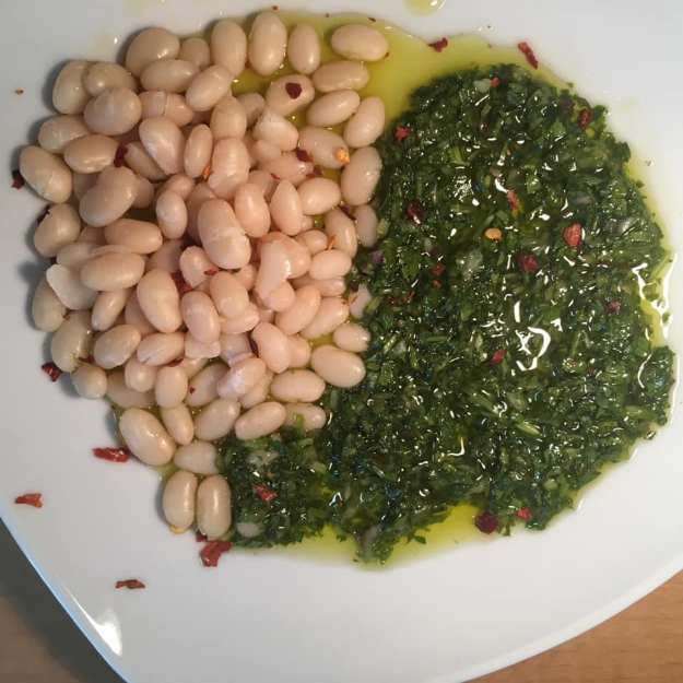 Chimichurri and navy beans